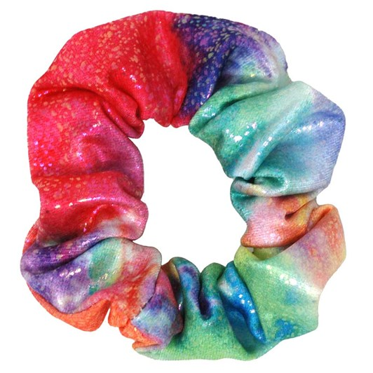 Pink Poppy Rainbow Splash Shimmering Scrunchie