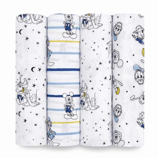 Aden + Anais 4 Pack Essential Disney Baby Swaddleplus