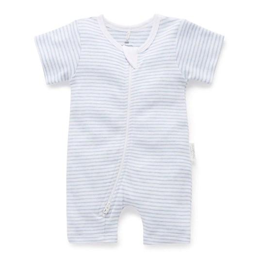 Purebaby S/S Short Leg Zip Growsuit