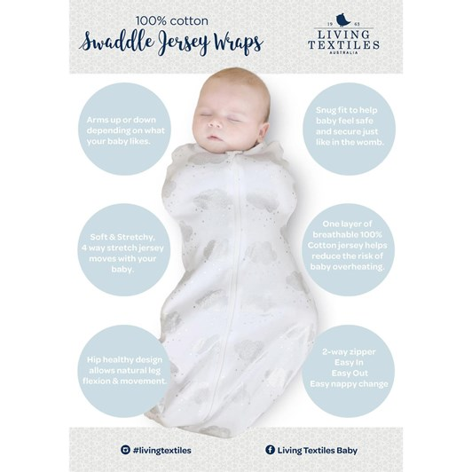 Living Textiles Jersey Zip Up Swaddle