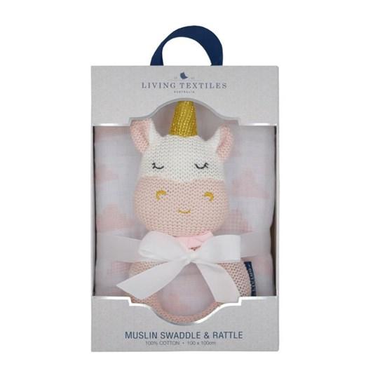 Living Textiles Kenzie The Unicorn Muslin Swaddle & Rattle Gift Set