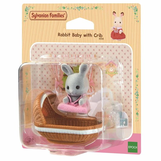 Sylvanian Families Rabbit Baby With Crib