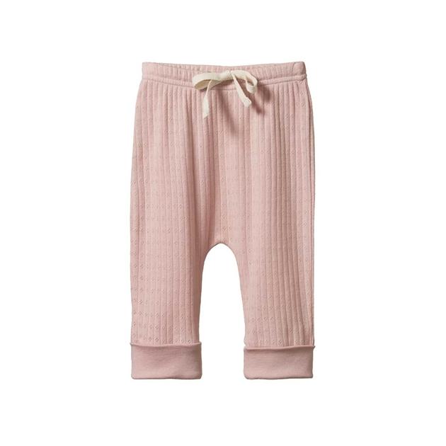 Nature Baby Drawstring Pants Pointelle - rose bud