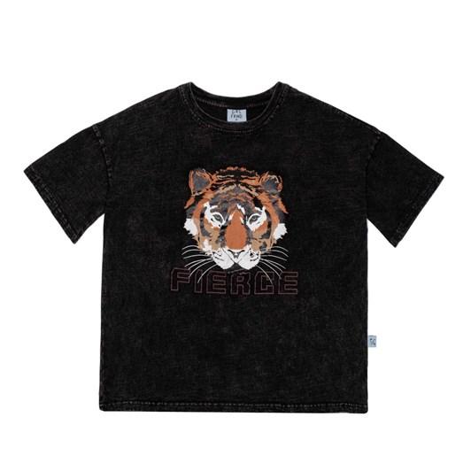 GRLFRND by The Girl Club Ss Tee Fierce Tiger Oversize Vintage Black 3-7Y