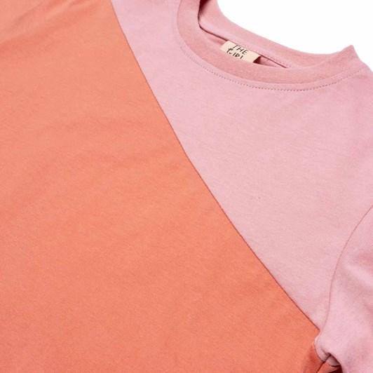 The Girl Club Ss Tee Colour Block Crop Orange-Pink 3-7Y