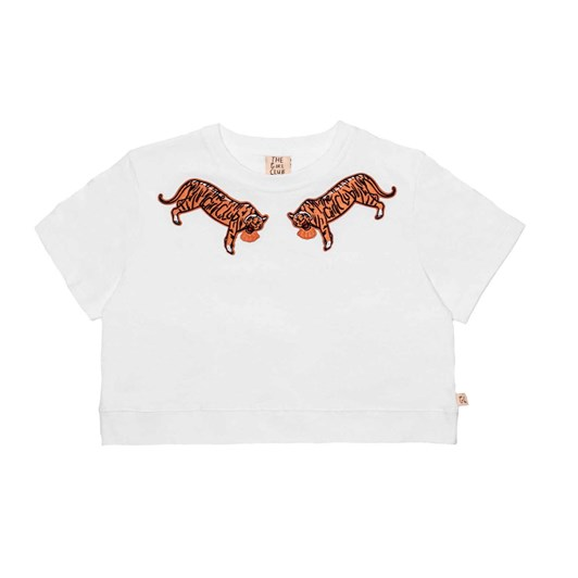 The Girl Club Ss Tee Embroidered Tigers Crop White 3-7Y