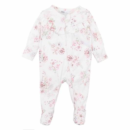 Bebe Amelie Floral Ls Zip Romper