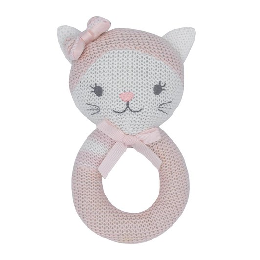 Living Textiles Daisy the Cat Knitted Rattle