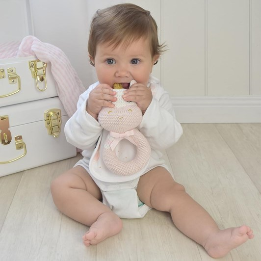 Living Textiles Kenzie the Unicorn Knitted Rattle