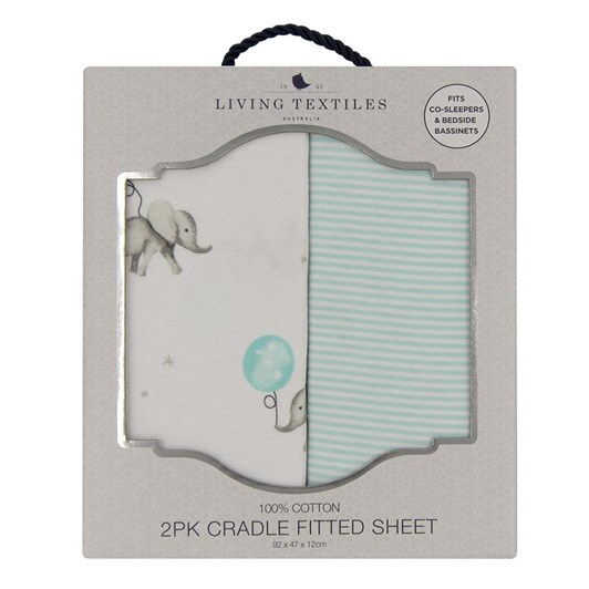 Living Textiles 2-Pack Jersey Cradle/Co-Sleeper Fitted Sheet