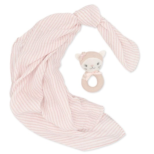 Living Textiles Daisy The Cat Muslin Swaddle & Rattle Gift Set