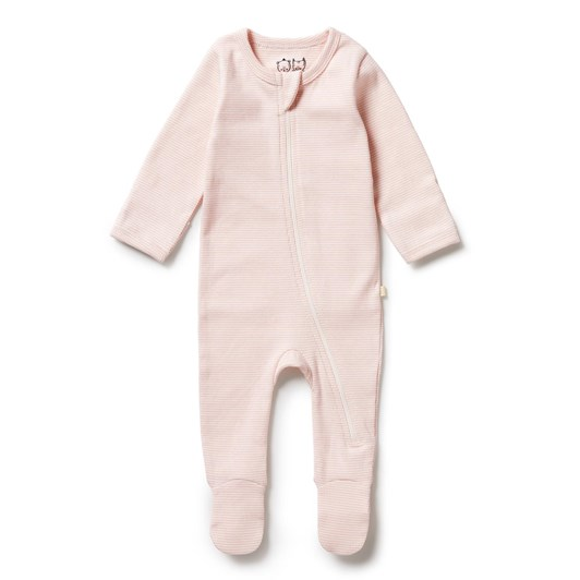 Wilson and Frenchy Organic Stripe Rib Zipsuit with Feet - Cantaloupe