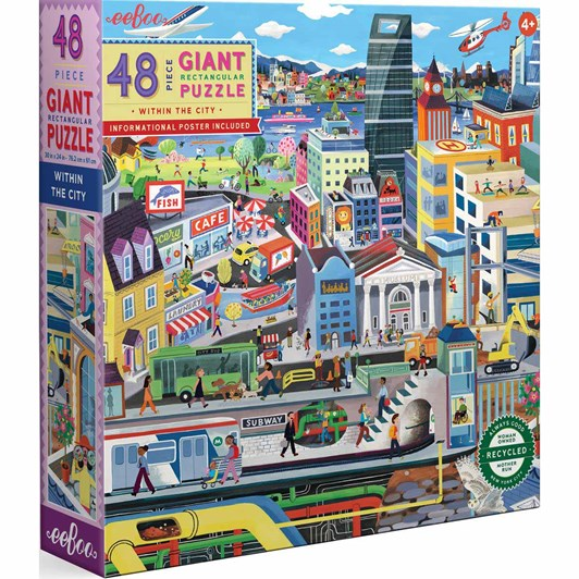 Eeboo 48Pc Giant Puzzle Within The City