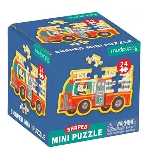 Mudpuppy Firetruck, Shaped Mini-Puzzle, 24Pcs
