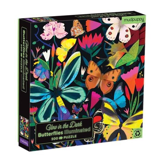 Mudpuppy Butterflies Illuminated 500 Pc Glow In The Dark Family Puzzle