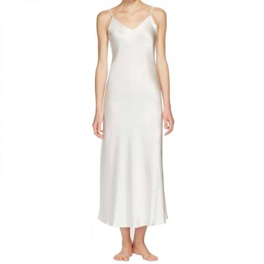 Ginia Silk Long Nightie V Neck