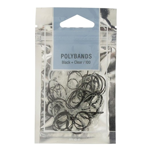 Mae ElasticS Polybands Black & Clear (100)