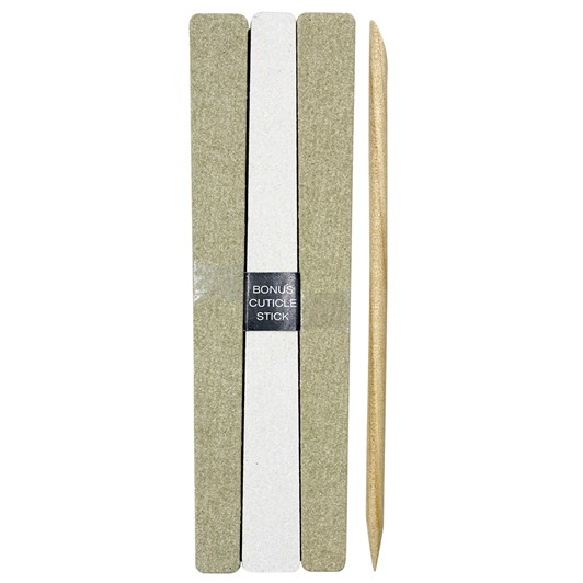 QVS 15 Emery Boards with Cuticle Stick