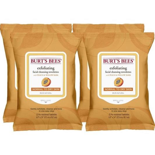 Burts Bees Peach & Willow Bark Exfoliating Wipes - 4 pack