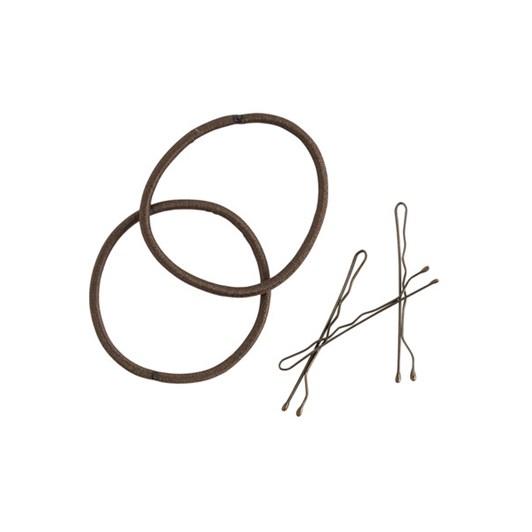 Mae Bobby Pins And Elastics Set - Brown
