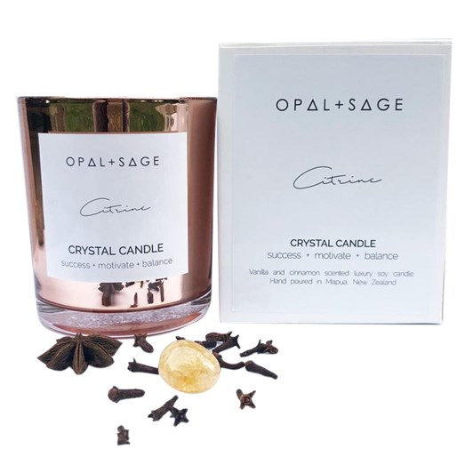Opal + Sage Crystal Candle - Citrine