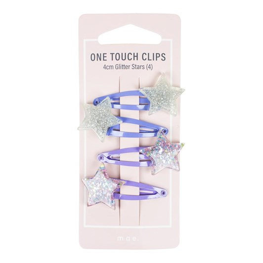 Mae One Touch Clips 4cm Glitter Stars (4)