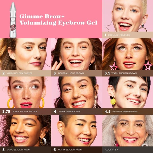 benefit gimme brow+ volumizing eyebrow gel shade cool grey