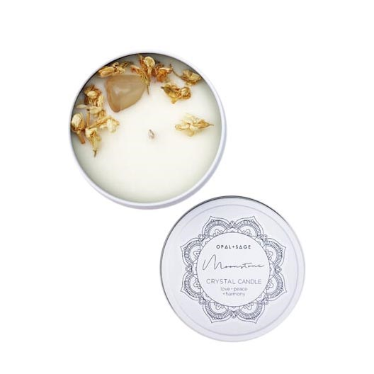 Opal + Sage Mandala Crystal Candle – Moonstone