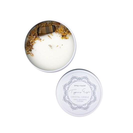 Opal + Sage Mandala Crystal Candle – Tigers Eye