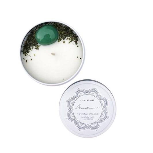 Opal + Sage Mandala Crystal Candle – Aventurine