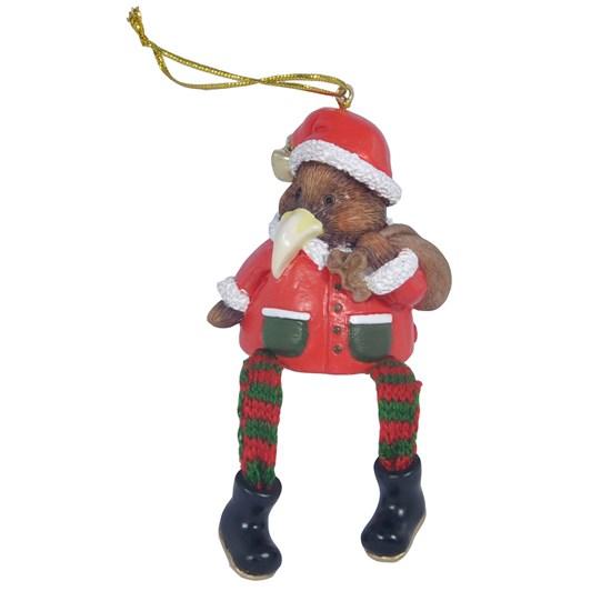 Hanging Christmas Kiwi With Bag And Dangling Legs 6cm