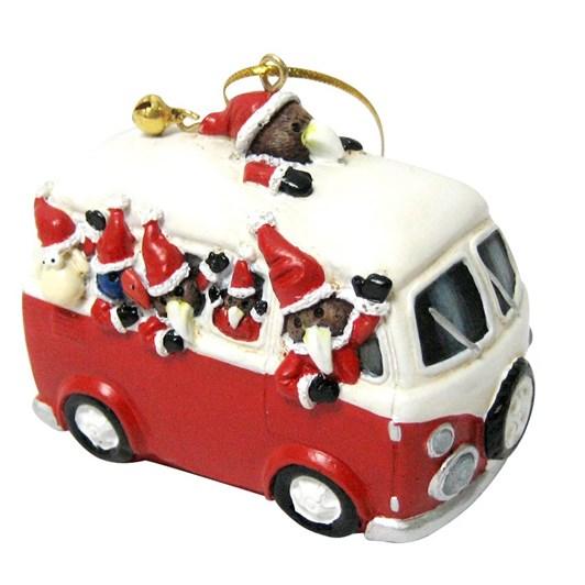 Hanging Christmas Combi Van Decoration With Kiwi Pukeko And Sheep 7x6cm
