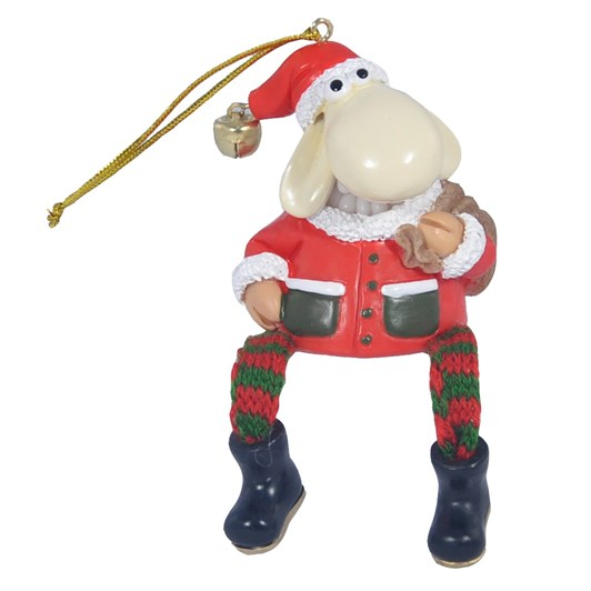Hanging Christmas Sheep With Bag And Dangling Legs 6cm