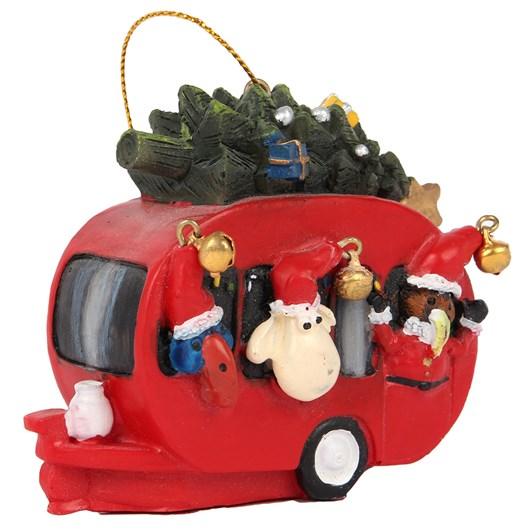 Hanging Christmas Caravan with Kiwi Pukeko and Sheep 7x7