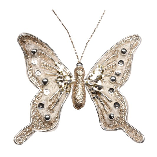 Small Velvet Jewelled Butterfly Champagned