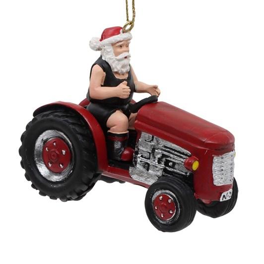 Santa On Tractor Ornament