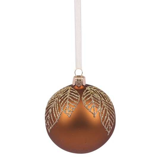 Bauble With Leaves On Top 8cm