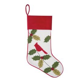 C&F Cardinal With Holly Stocking