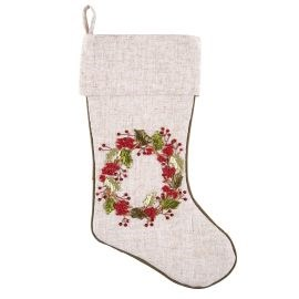 C&F Berry Wreath Ribbon Art Stocking