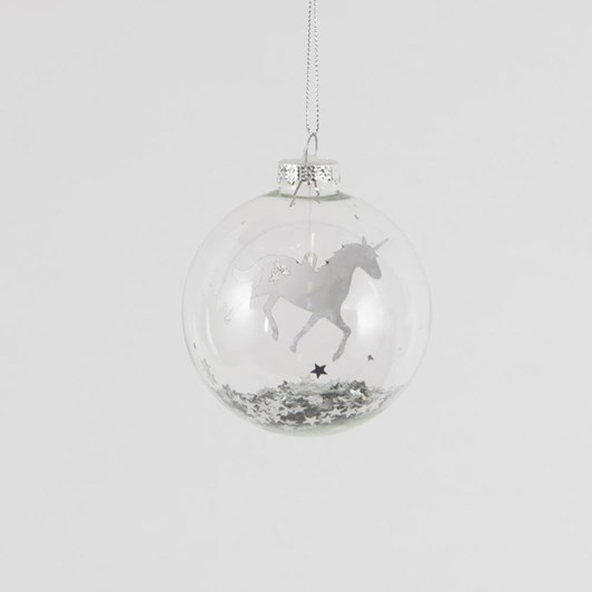 Sass & Belle Magical Floating Silver Star Prancing Unicorn Bauble