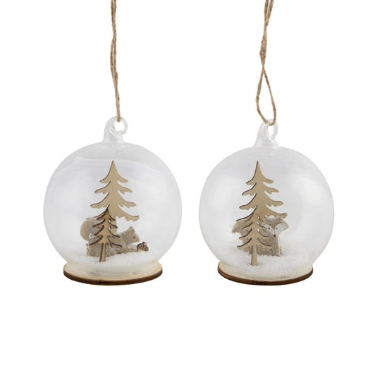 Sass & Belle Fox & Squirrel Snowy Christmas Scene Within A Bauble