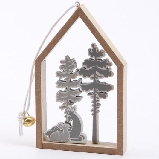 Grey Reindeer In House Hanger 12cm