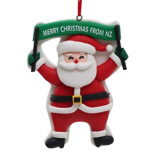 Claydough NZ Santa With Sign 4 Inch