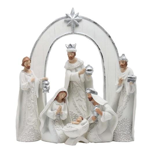 Resin Nativity Set 7 Piece White 11In