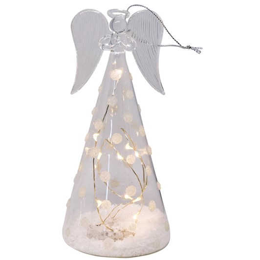 Stellar Haus Tall Cone-Shaped Glass Angel With Spots 18cm