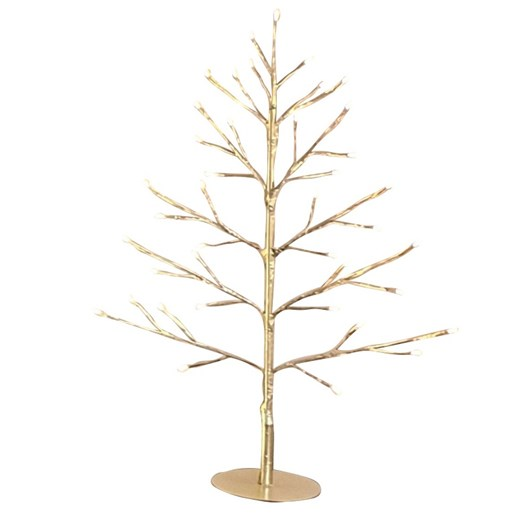 Stellar Haus Table Top Flat Champagne Warm White Standing Tree 60cm