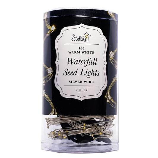 Stellar Haus 8 Strand Waterfall Seed Lights Silver Warm White