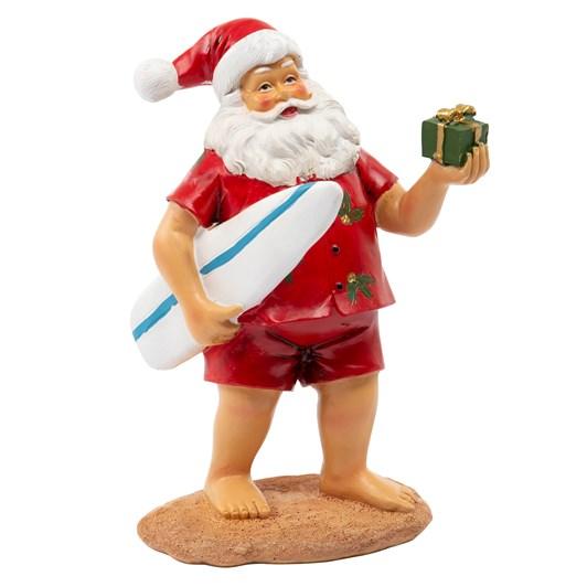 Santa Standing On Surf Board 19.5cm