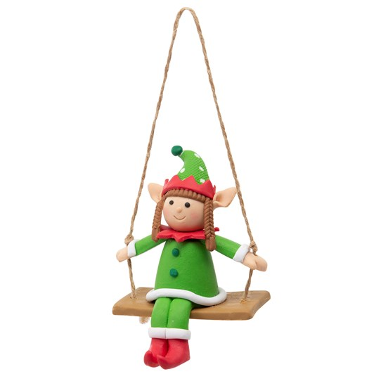 Elf Sitting On Swing