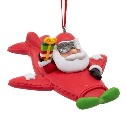 Santa On Plane With Gift